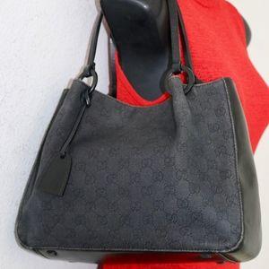 GUCCI Signature Canvas Leather tote handbag ITALY